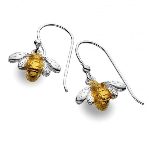 Sterling Silver Bee With Gold Plating Hook Earrings