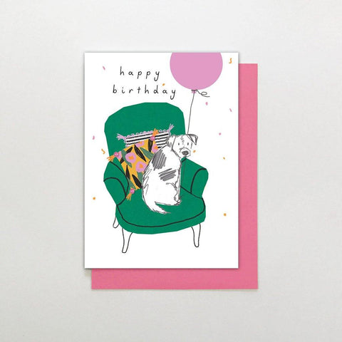 Dog On Chair Birthday Card - insideout-home