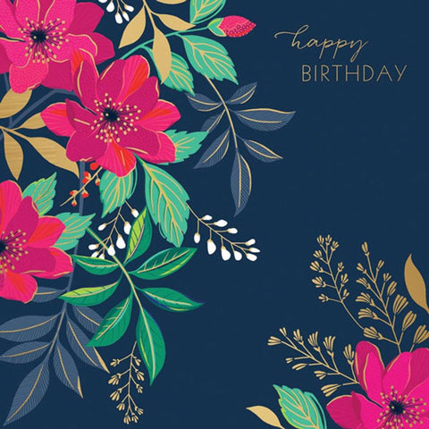 Flowers On Navy Card - insideout-home