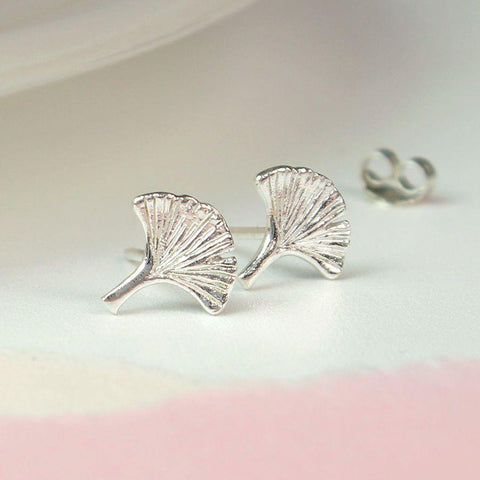 Sterling Silver Ginkgo Leaf Earrings - insideout-home
