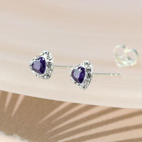 Sterling Silver Tanzanite Crystal Heart Stud Earrings - insideout-home