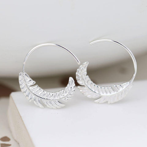 Sterling Silver Feather Hoop Earrings - insideout-home