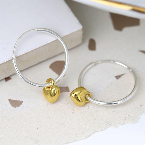 Sterling Silver Hoop Earrings With Gold Hearts - insideout-home