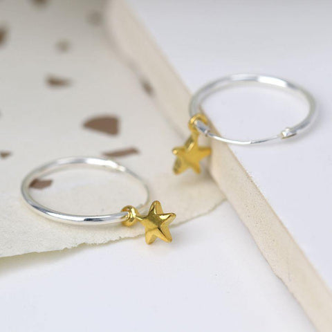 Sterling Silver Hoop Earrings With Gold Stars - insideout-home