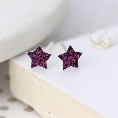 Sterling Silver Purple Crystal Star Earrings - insideout-home