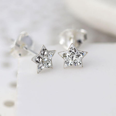 Sterling Silver Clear Crystal Star Earrings - insideout-home