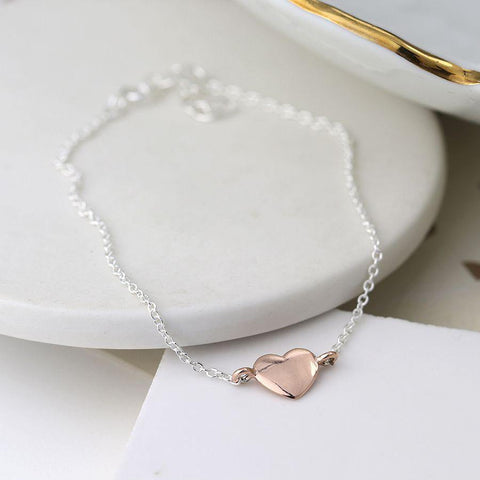 Sterling Silver Bracelet With Rose Gold Heart - insideout-home
