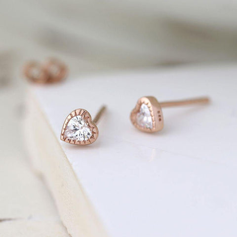 Sterling Silver Rose Gold Plated Crystal Heart Earrings - insideout-home