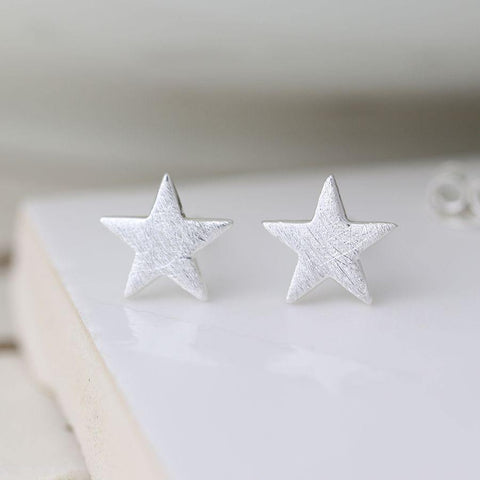 Sterling Silver Scratched Star Earrings - insideout-home