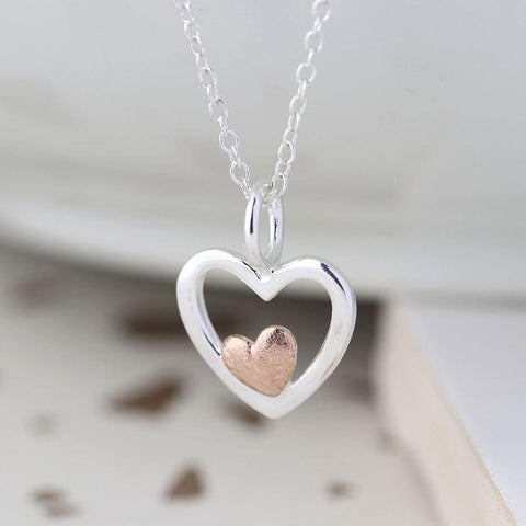 Sterling Silver And Rose Gold Double Heart Necklace - insideout-home