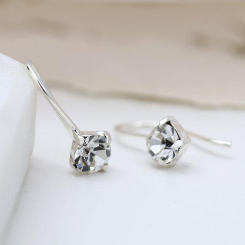 Sterling Silver Clear Crystal Little Drop Earrings - insideout-home