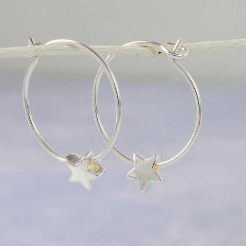 Sterling Silver Star Bead Hoops - insideout-home