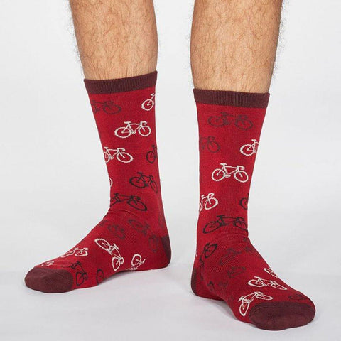 Zachary Bicycle Bamboo Mens Socks Berry Red - insideout-home