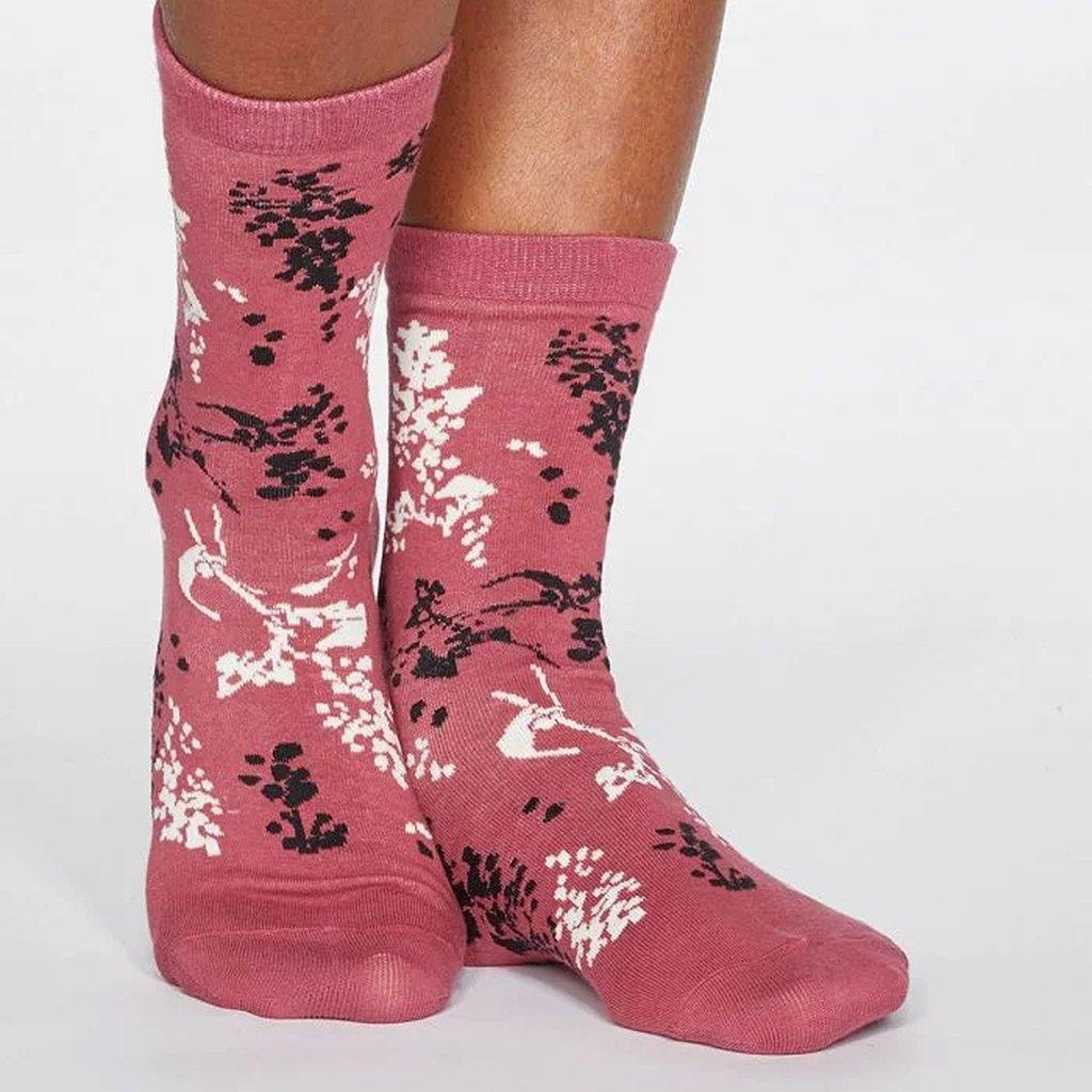 Orpha Bamboo Womens Floral Socks Rose Pink, Clothing by Insideout