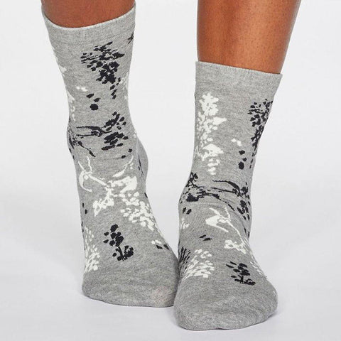 Orpha Bamboo Womens Floral Socks Grey Marle - insideout-home
