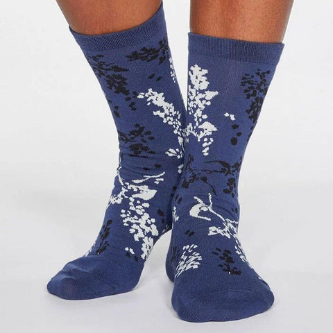 Orpha Bamboo Womens Floral Socks Mineral Blue - insideout-home