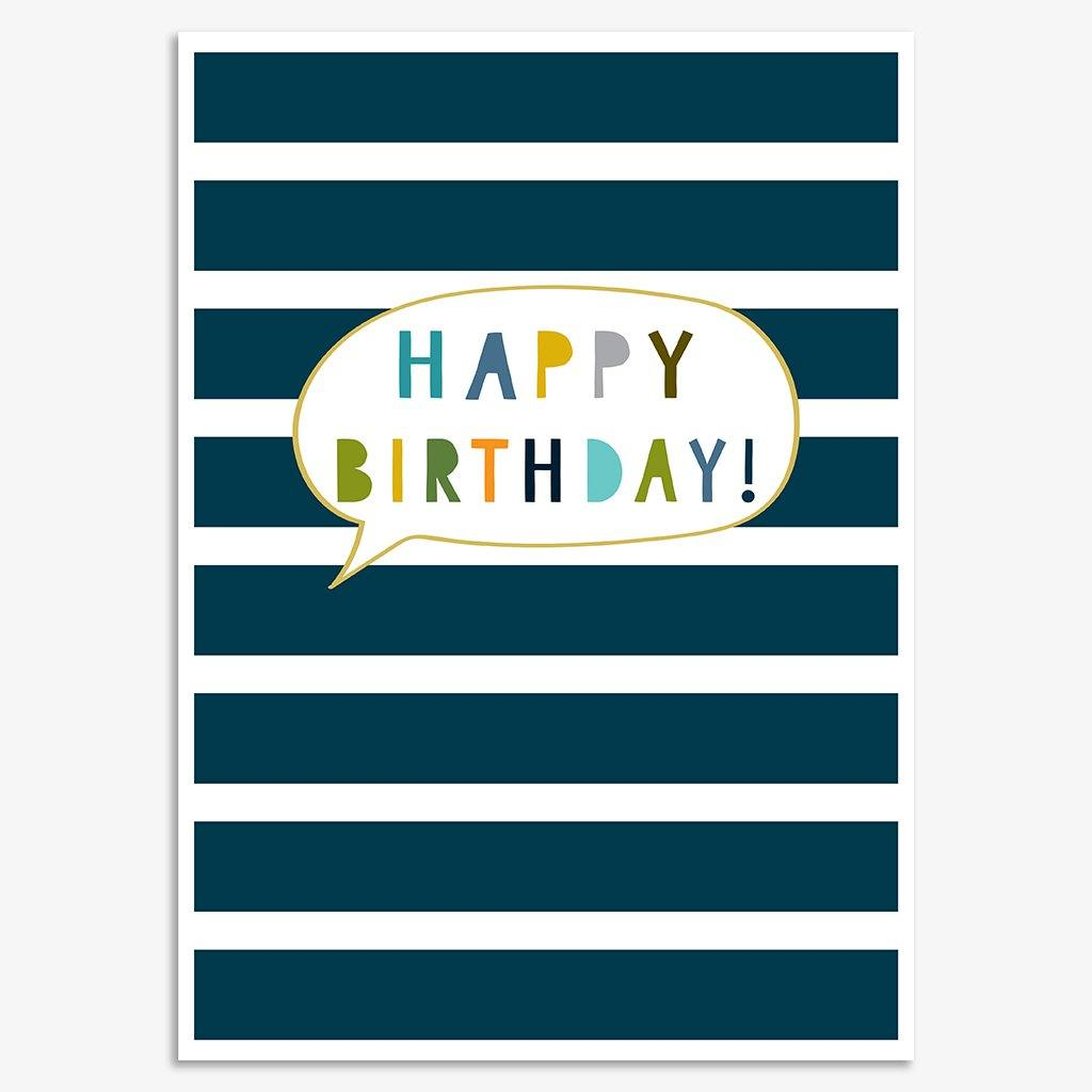 Happy Birthday Stripes Notecard Pack, Arts & Entertainment by Insideout