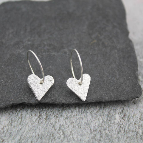 Sterling Silver Heart Hoops - insideout-home