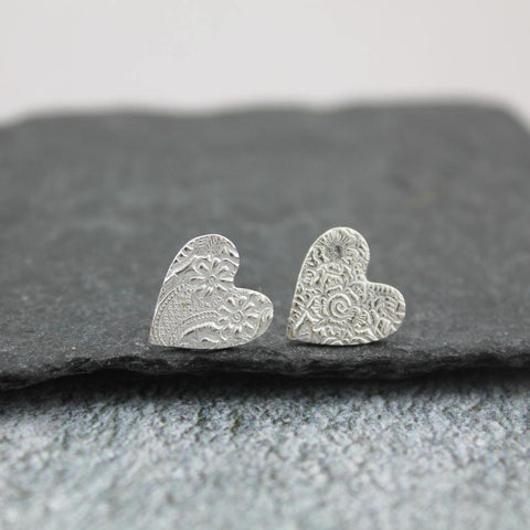 Sterling Silver Lace Textured Heart Studs - insideout-home