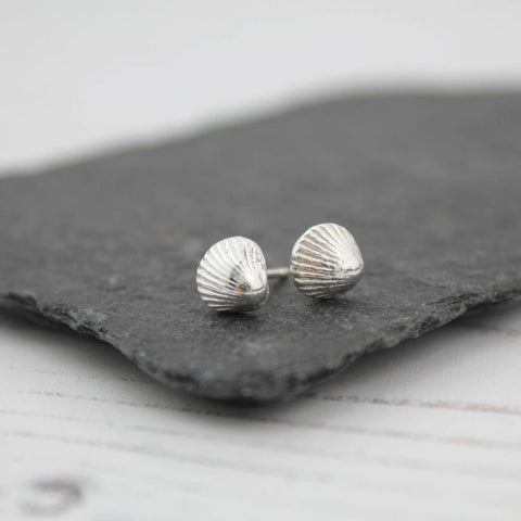 Silver Shell Stud Earrings
