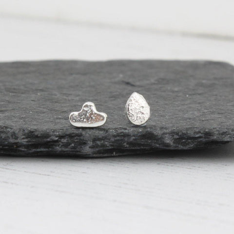 Silver Mini Cloud And Raindrop Mismatch Studs - insideout-home