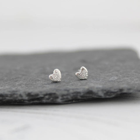 Silver Mini Heart Studs - insideout-home