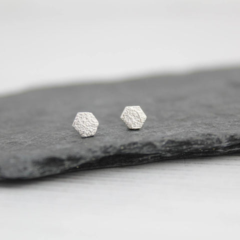 Silver Mini Hexagon Studs - insideout-home