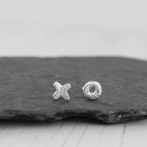 Sterling Silver Mini Hug And Kiss Studs - insideout-home
