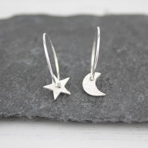 Sterling Silver Mismatch Star & Moon Hoop Earrings - insideout-home