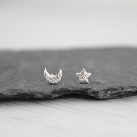 Silver Mismatch Mini Moon And Star Studs - insideout-home