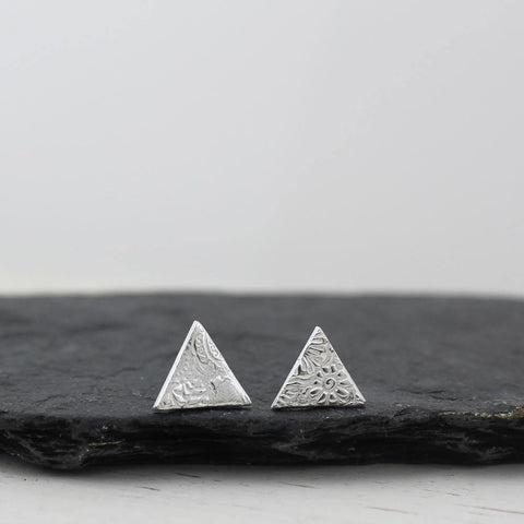 Sterling Silver Lace Textured Triangle Studs - insideout-home