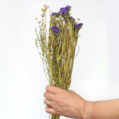 Dried Wildflower Mini Mixed Bunch Blues - Insideout