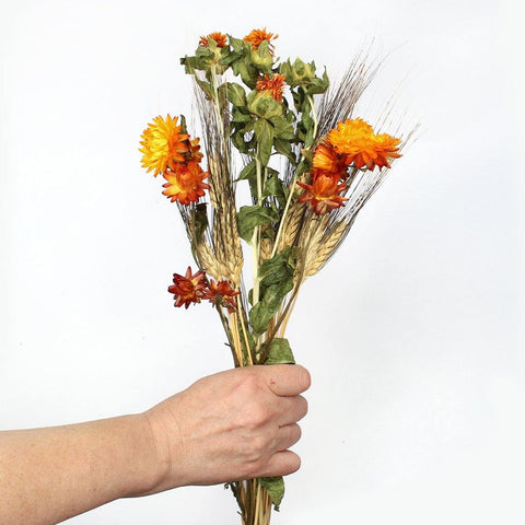 Dried Wildflower Mini Mixed Bunch Oranges - Insideout