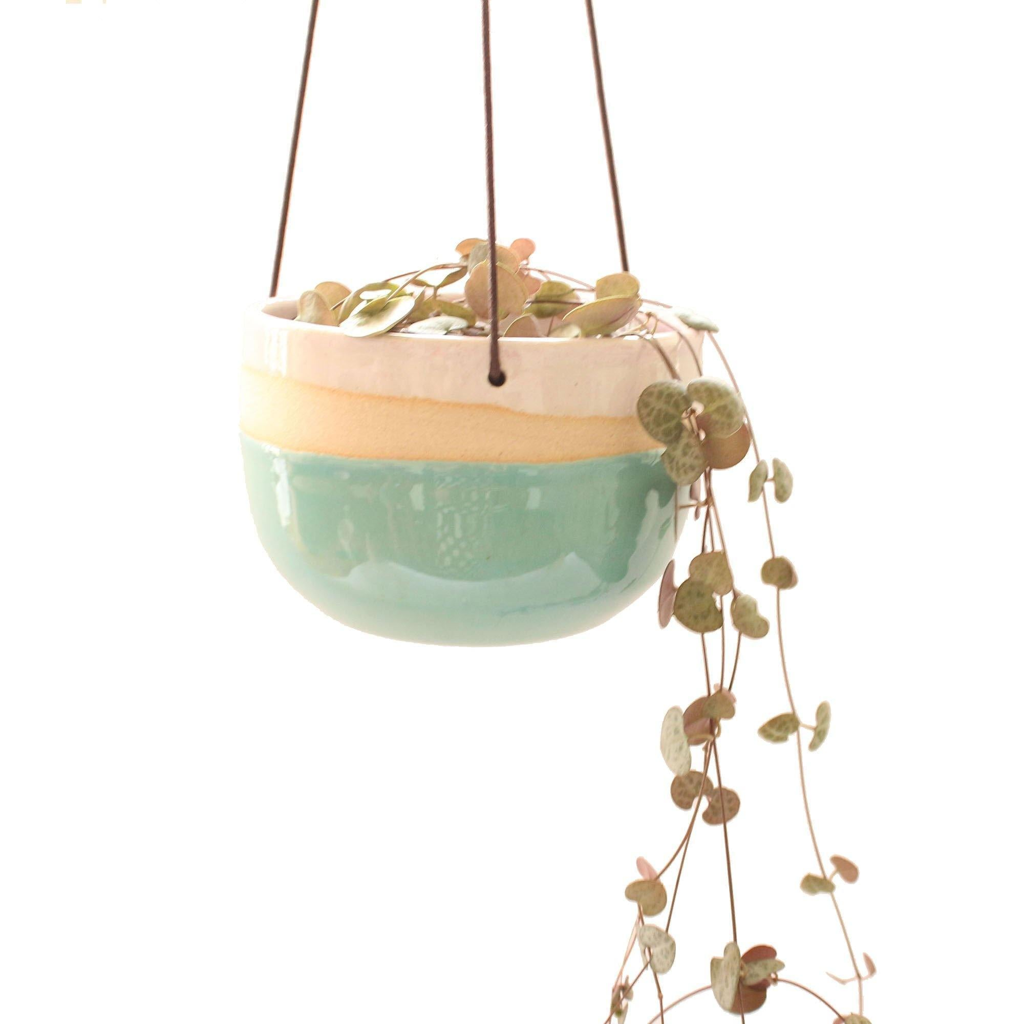 Handmade Hanging Ceramic Planter Turquoise And Pink, Lawn & Garden by Insideout