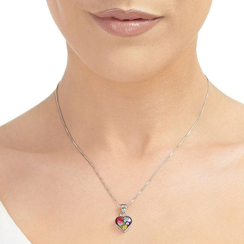 Small Mixed Flower Heart Pendant Necklace - insideout-home