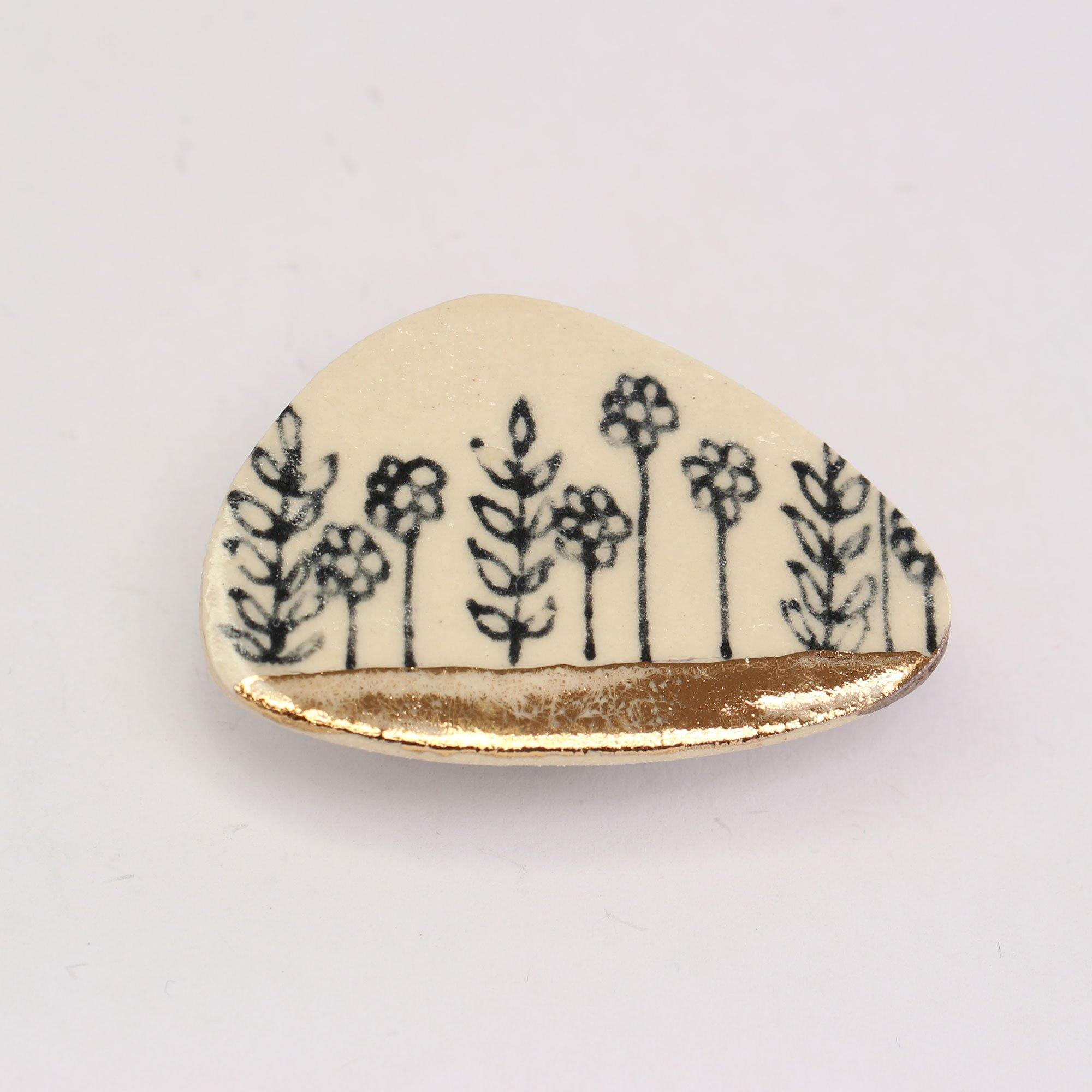 Leaf & Flowers Gold Lustre Ceramic Brooch, Building Toys by Insideout