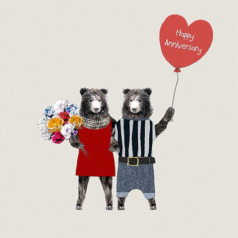 Bears With Flowers Card - insideout-home