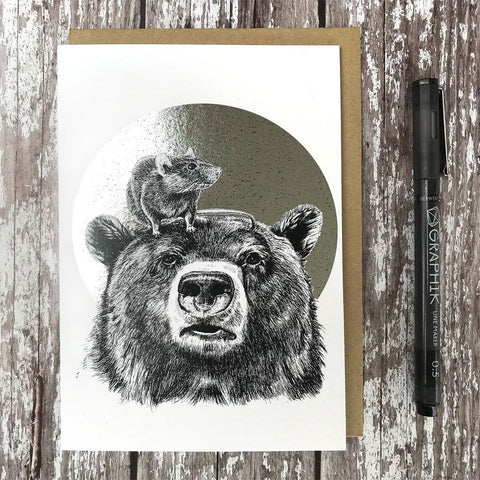 Brown Bear & Rat Foiled Card - insideout-home