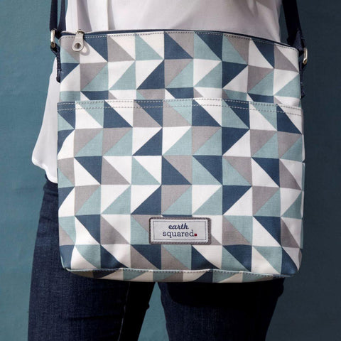 Spring Oil Cloth Messenger Bag Blue Triangle - insideout-home
