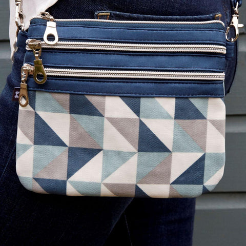 Spring Oil Cloth Pouch Bag Blue Triangle - insideout-home