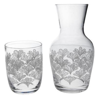 White Meadow Glass Water Carafe and Glass - insideout-home