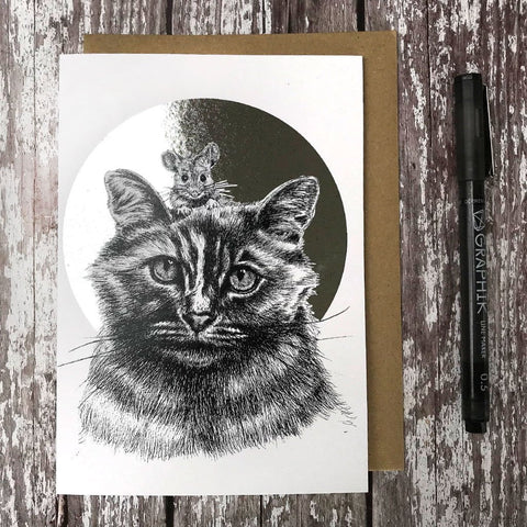 Cat & Mouse Foiled Card