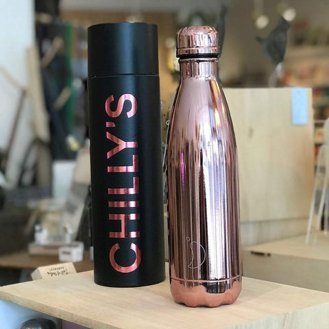 Chilly's Bottle Rose Gold 500ml Chrome Edition - insideout-home