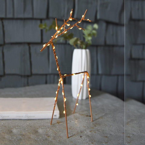 Large Copper Reindeer Light - insideout-home