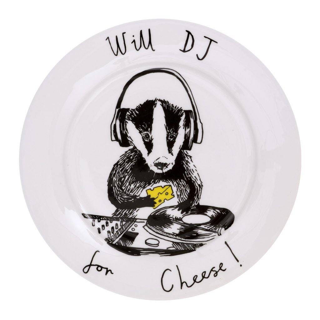 Will DJ For Cheese Side Plate, Food Service by Insideout