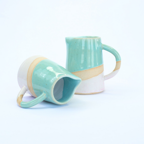Small Turquoise and Pink Contemporary Ceramic Jug - Insideout