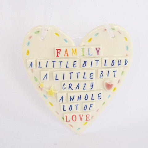 Porcelain Hanging Heart Plaque Family - insideout-home