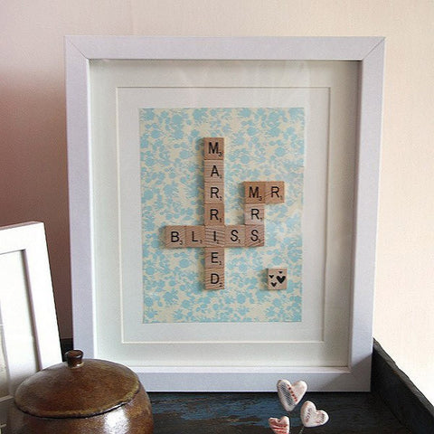 framed married bliss scrabble print