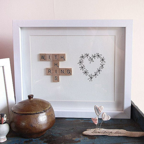 framed with this ring scrabble print