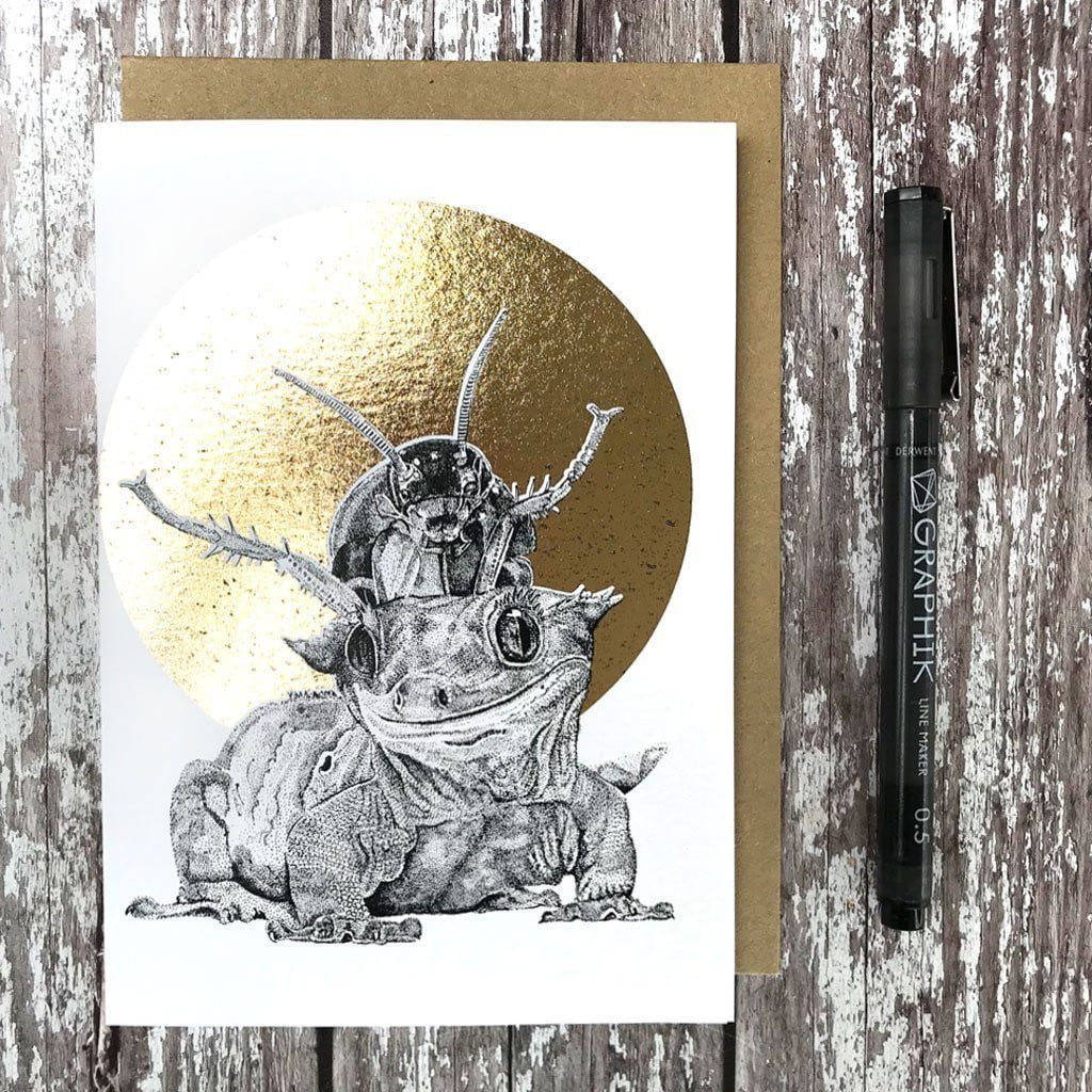FF18 Crested Gecko & Cockroach Foiled Card, Gift Giving by Insideout